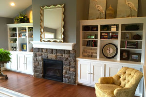 The Gardens at Fieldstone home interior - fireplace